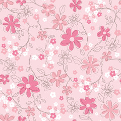 The repeat design of an floral pattern Color Pink