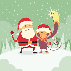 Santa Clause Christmas Monkey Cartoon Character Taking Selfie