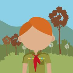 Summer camping and travel cartoon