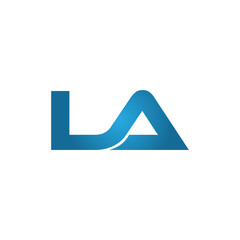 LA company linked letter logo blue