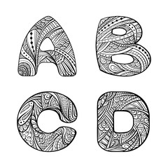 Ethnic hand drawn letters A, B, C, D