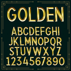 Vector Golden Embossed Font