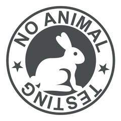 Icono plano texto NO ANIMAL TESTING gris circular con conejo