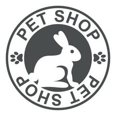 Icono plano texto PET SHOP gris circular con conejo