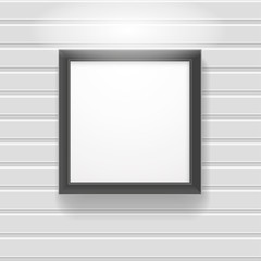 blank black photo frame hanging on the wooden wall, vector Illustration