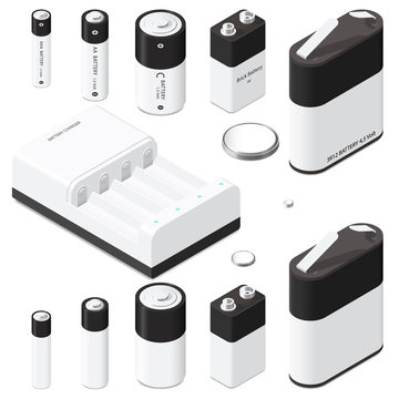 Battery and battery charger isometric icon set