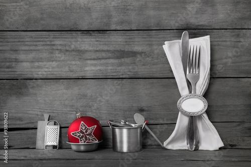 essen und kochen an weihnachten holz hintergrund mit. Black Bedroom Furniture Sets. Home Design Ideas