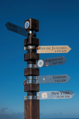 signpost of cities