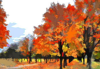 Art autumn landscape as oil painting. Grunge picture showing