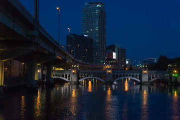 Office buildings and Tosabori river at night, Osaka.