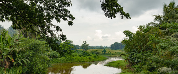 Rural Tropical landscape with River
