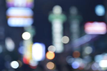 City night light blur bokeh for background, Bangkok Thailand