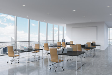 Corporate workplaces equipped by modern laptops in a modern panoramic office in New York City. Brown leather chairs and a black tables, a huge whiteboard on the wall. 3D rendering.