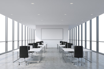 A symmetric corporate workplaces equipped by modern laptops in a modern panoramic office, white copy space in the windows. Black leather chairs and white tables. 3D rendering.