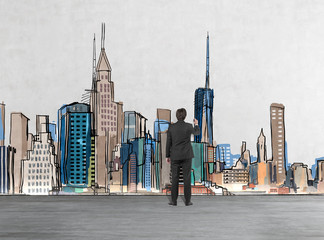 Rear view of a businessman who is drawing New York picture on the wall. A concept of financial consultancy.