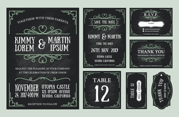 Vintage wedding invitation chalkboard design sets include Invitation card, Save the date, RSVP card, Thank you card, Table number, Gift tags, Place cards, Respond card.
