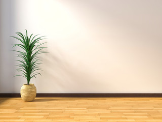 empty interior with flower. 3d illustration