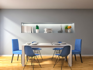 Kitchen in blue and brown floor. 3d illustration