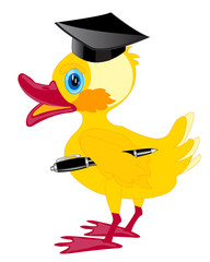 Cartoon duckling teacher