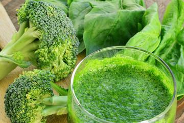 Green vegetable smoothie closeup