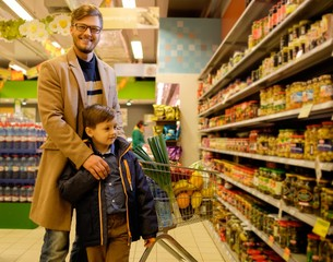 Father and son in a grocery store