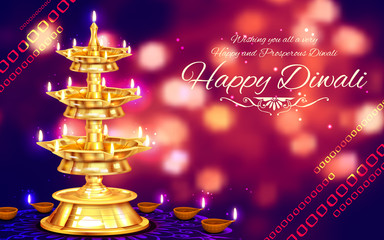Golden diya stand on abstract Diwali background