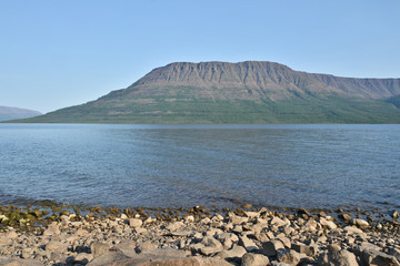 Mountain lake Nakomaken on the Putorana plateau.