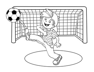Coloring Page Outline Of A  Boy kicking a soccer ball