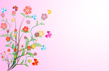 branch with beautiful flowers on pink background