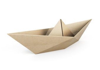 Origami boat out recycle paper on white background