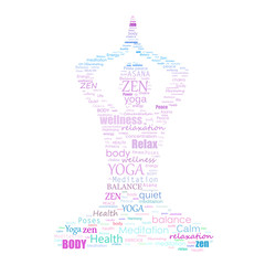 Yoga word cloud silhouette