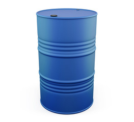 Blue metal barrel on a white. 3d.