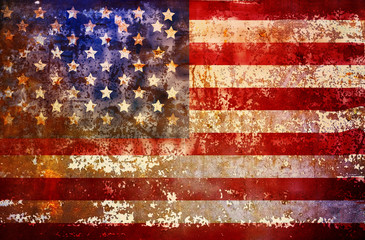 grungy american flag, vintage filtered