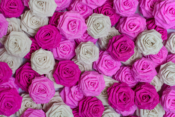 background of roses made of paper