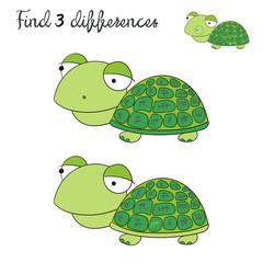 Find differences kids layout for game turtle