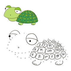 Connect the dots game turtle vector illustration