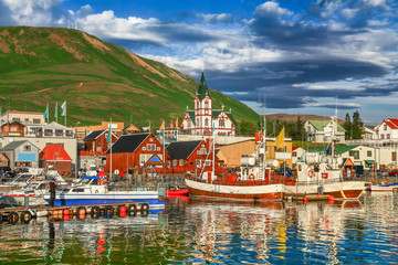 Wall Mural - Historic town of Husavik at sunset, Iceland