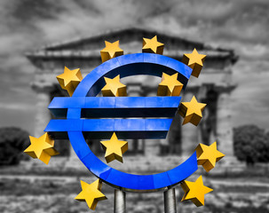 Euro sign in front of Greek temple in black and white symbolizing financial crisis
