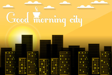Sunrise over the city. City morning. Good morning. Dawn. Vector illustration.