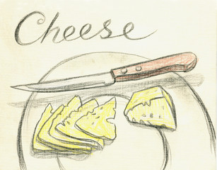 Cheese and knife on the plate. Drawing with colored pencils
