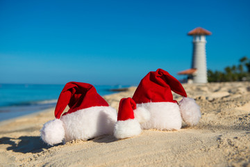 New Year holidays and Christmas vacation at Sea. Family travel with the children to seashore.