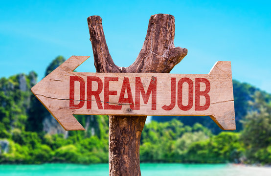 Dream Job arrow with beach background