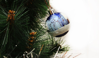 Toy on the Christmas tree - blue ball