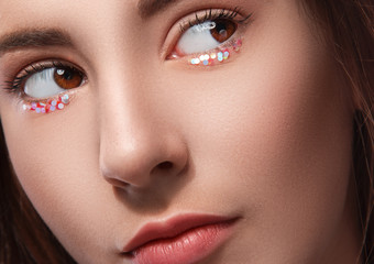 Female eyes with artistic makeup
