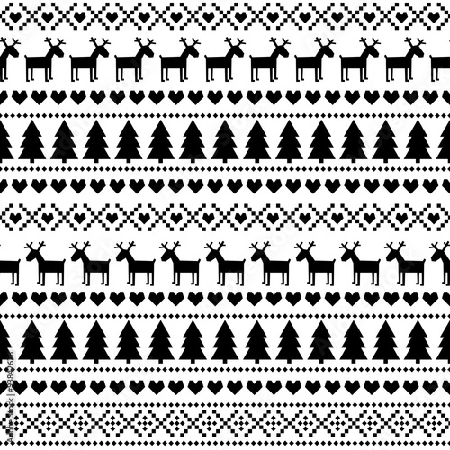 726a771dd615 Black and white seamless Christmas pattern