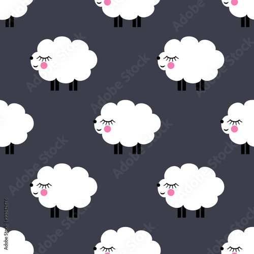 Smiling Lambs Seamless Pattern Background Vector Baby Sheep Illustration For Kids Holidays Cute Bright Shower