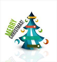 Merry Christmas tree, modern abstract geometric design