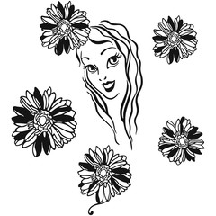 Graphical girl face with flowers. Vector