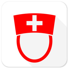 nurse red flat icon with long shadow on white background