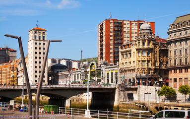 Railway station at embankment of   river. Bilbao